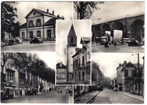 Gare RG, Arcades, route Nationale, Prés aux Bois-Postes, St Eustache. Collection du Tabac Thuillet, photo véritable ; CPSM N/B bords droits, non circulée,coll. privée.